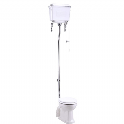 Burlington High Level Wc, Raised Height Pan, White or Aluminium Cistern with Chrome Flush Pipe Set
